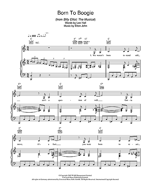 Born To Boogie (from Billy Elliot: The Musical) Sheet Music