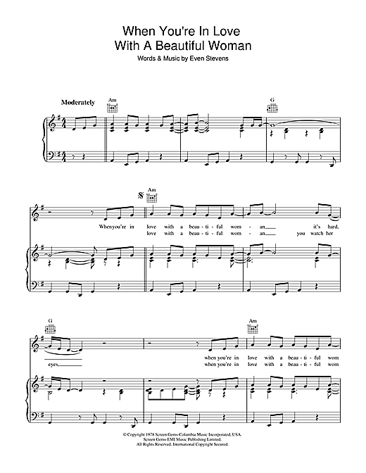 Partition piano When You're In Love With A Beautiful Woman de Dr. Hook - Piano Voix Guitare (Mélodie Main Droite)