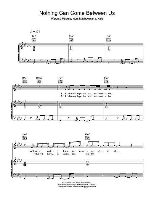 Nothing Can Come Between Us Sheet Music
