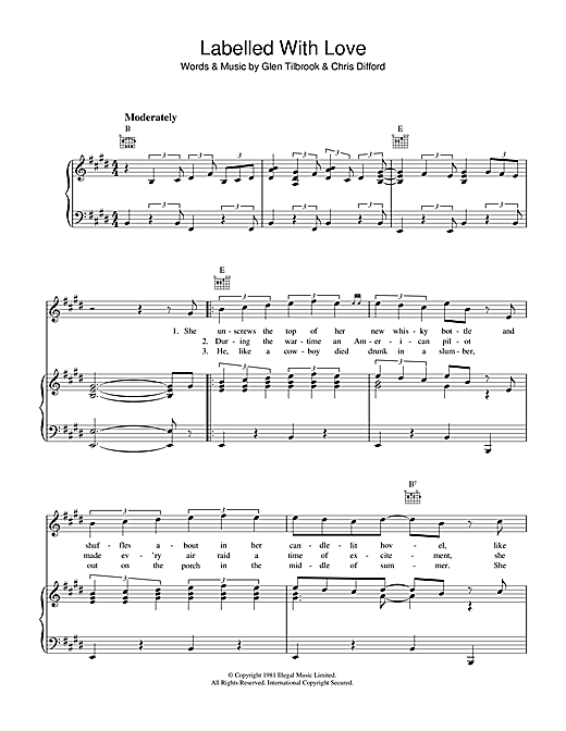 Partition piano Labelled With Love de Squeeze - Piano Voix Guitare (Mélodie Main Droite)