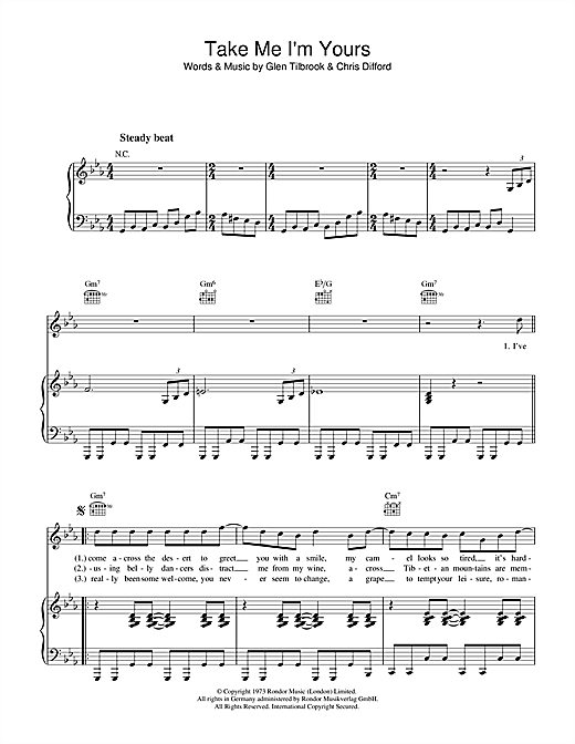 Take Me I'm Yours Sheet Music