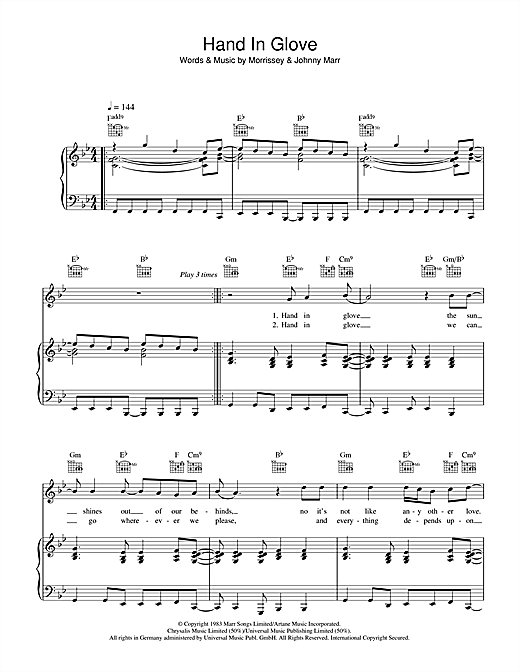 Hand In Glove Sheet Music