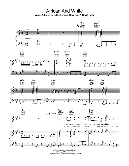 African And White Sheet Music