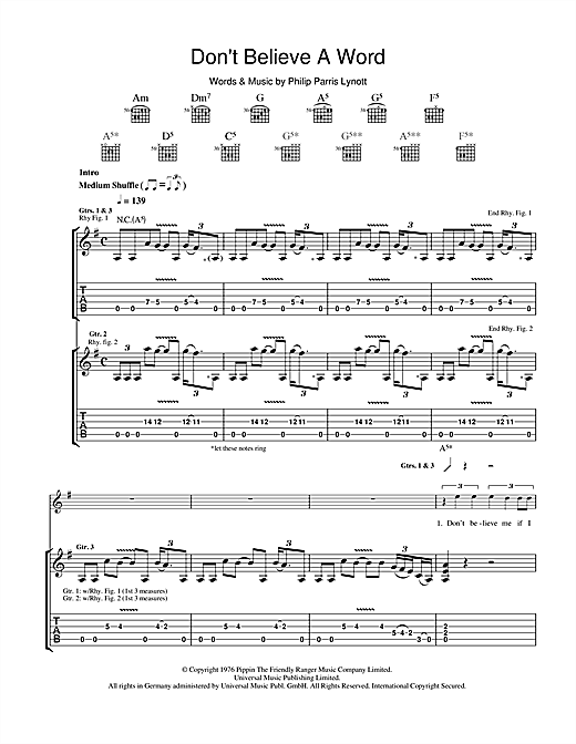 Tablature guitare Don't Believe A Word de Thin Lizzy - Tablature Guitare