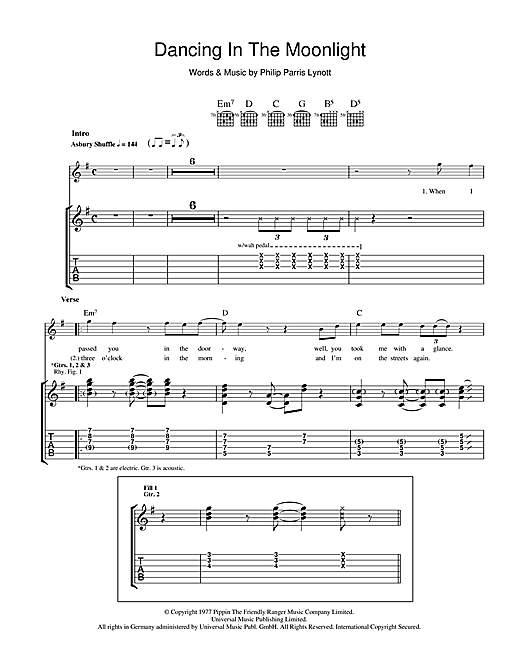 Dancing In The Moonlight (Guitar Tab)