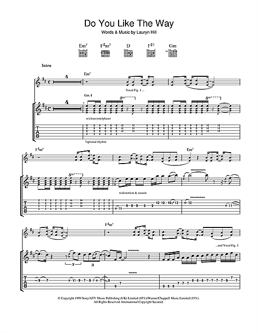 Do You Like The Way (Guitar Tab)