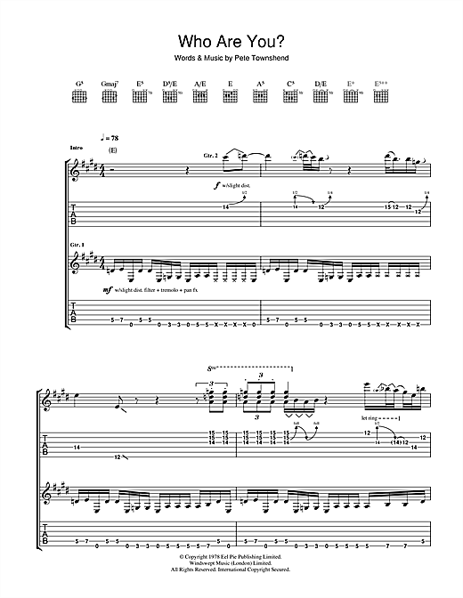 Who Are You? Sheet Music