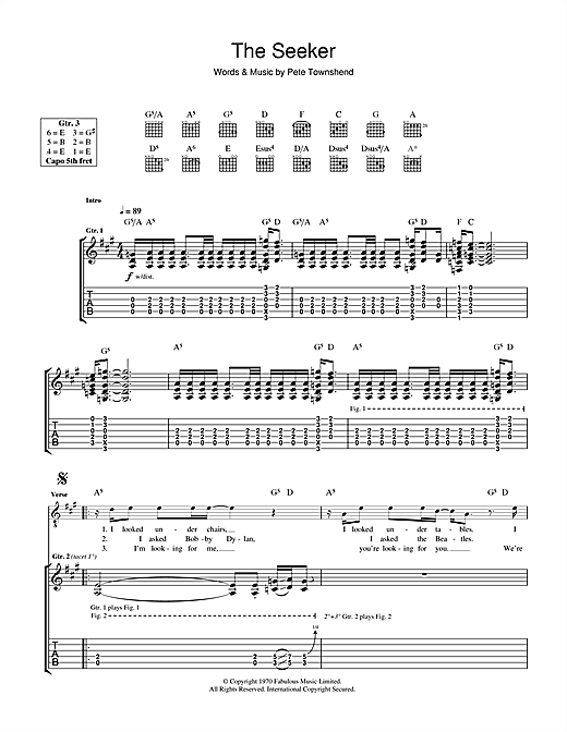 The Seeker Sheet Music
