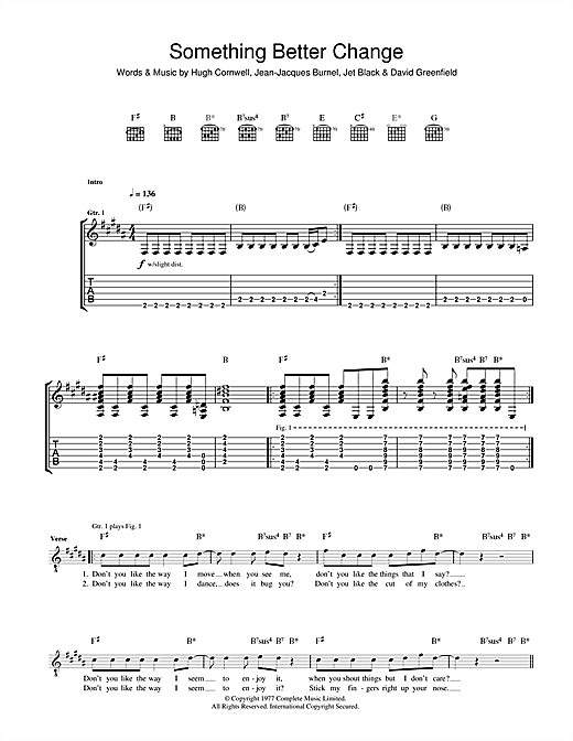 Something Better Change (Guitar Tab)