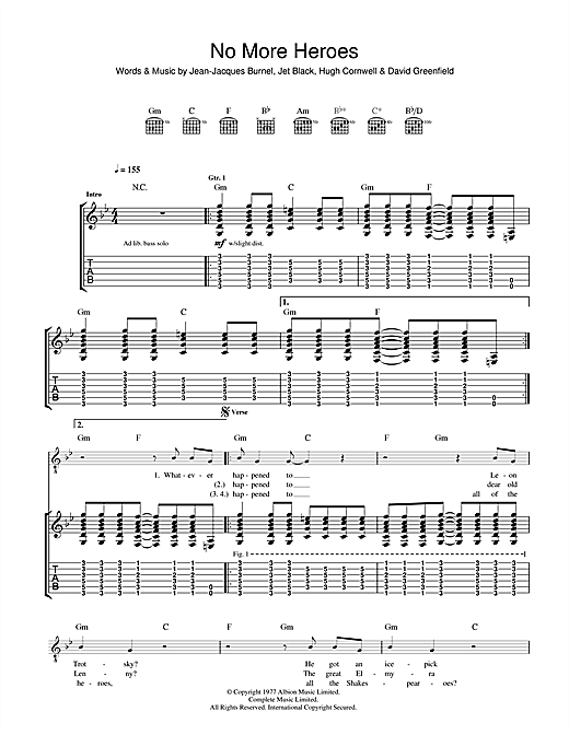 No More Heroes Sheet Music