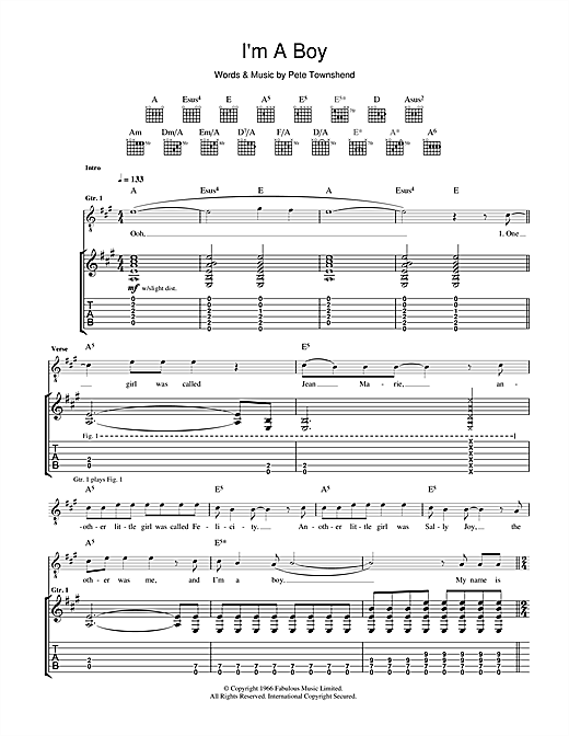 Tablature guitare I'm A Boy de The Who - Tablature Guitare