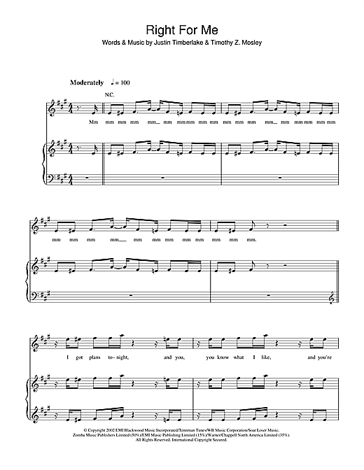 Right For Me Sheet Music