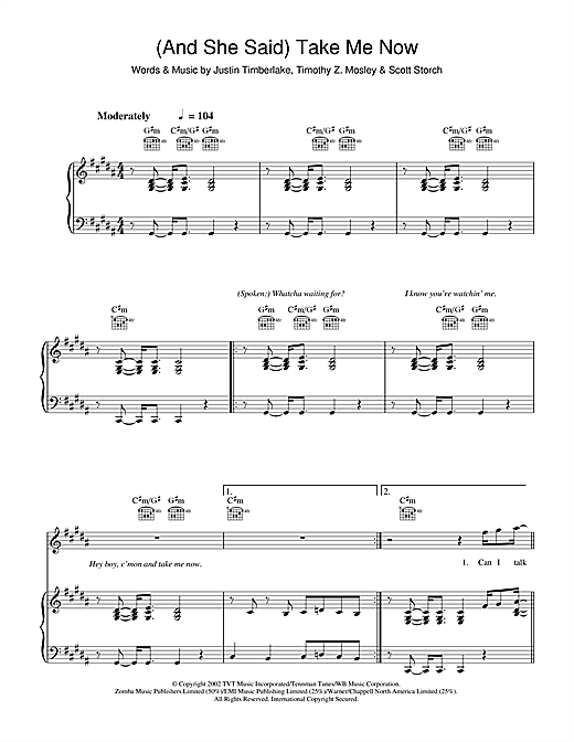 (And She Said) Take Me Now Sheet Music
