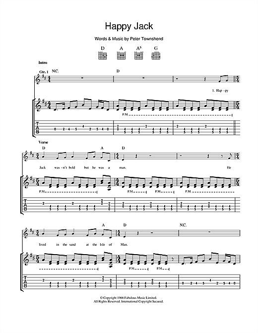 Tablature guitare Happy Jack de The Who - Tablature Guitare