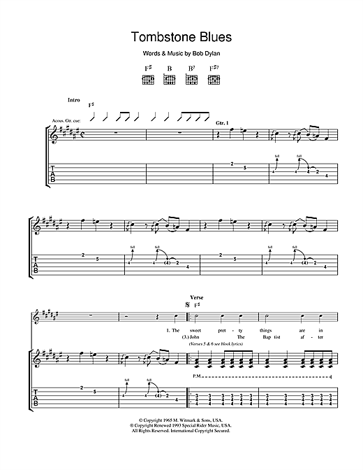 Tombstone Blues Sheet Music