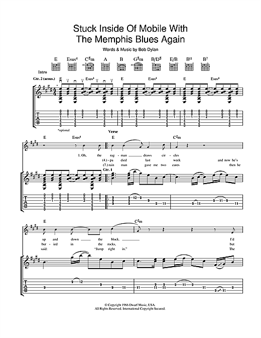Tablature guitare Stuck Inside Of Mobile With The Memphis Blues Again de Bob Dylan - Tablature Guitare