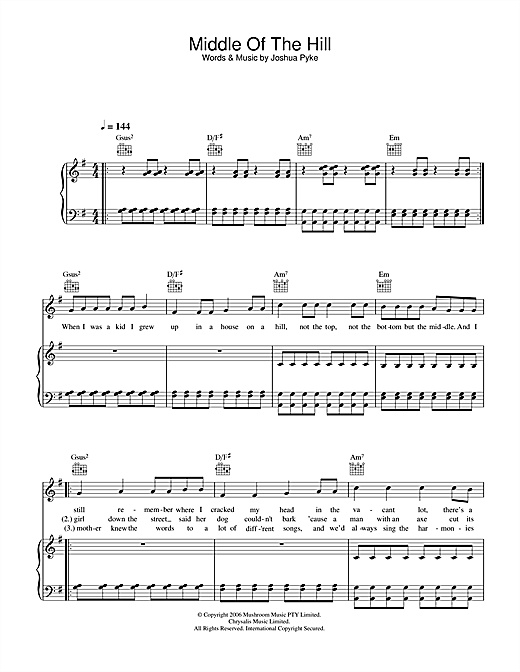 Middle Of The Hill Sheet Music