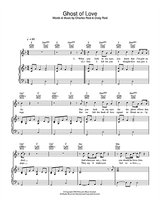 Ghost Of Love Sheet Music