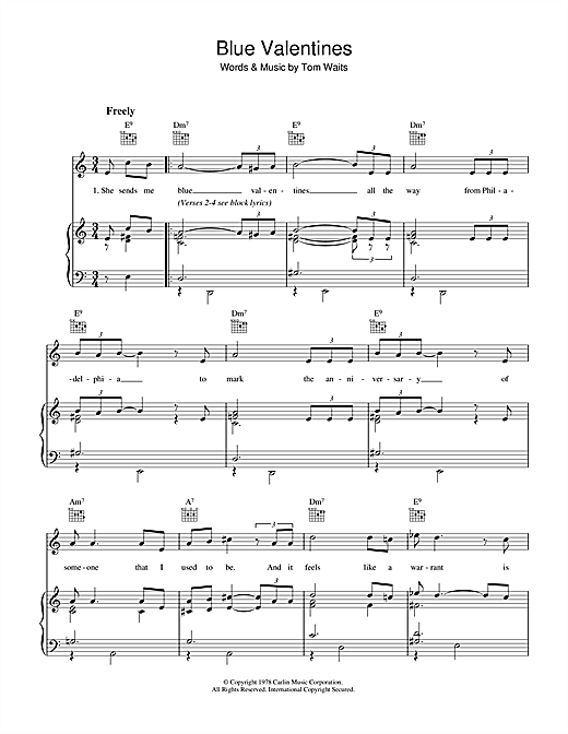 Blue Valentines Sheet Music. Tom Waits ...