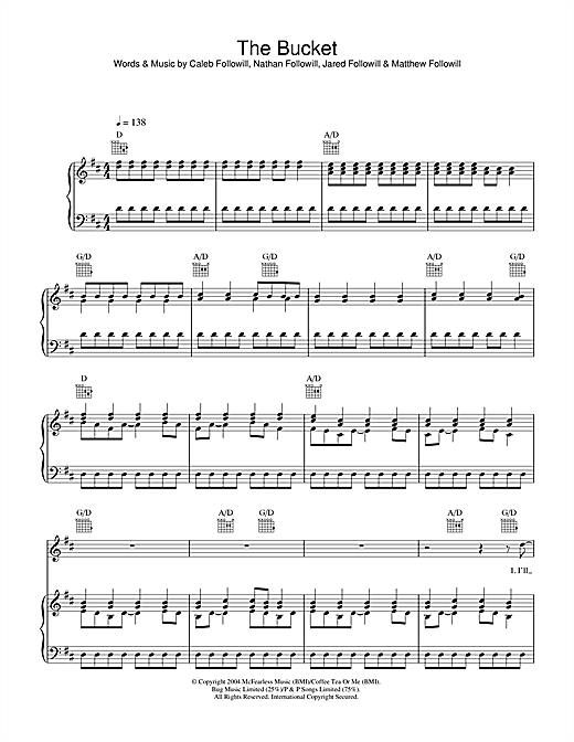 Partition piano The Bucket de Kings Of Leon - Piano Voix Guitare