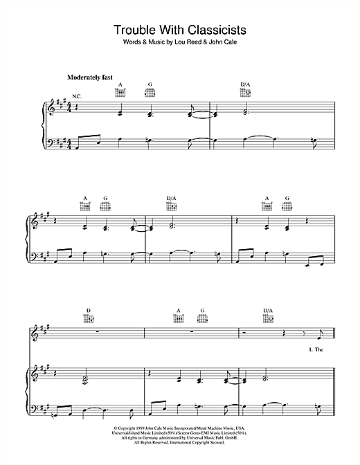 Partition piano Trouble With Classicists de Lou Reed - Piano Voix Guitare