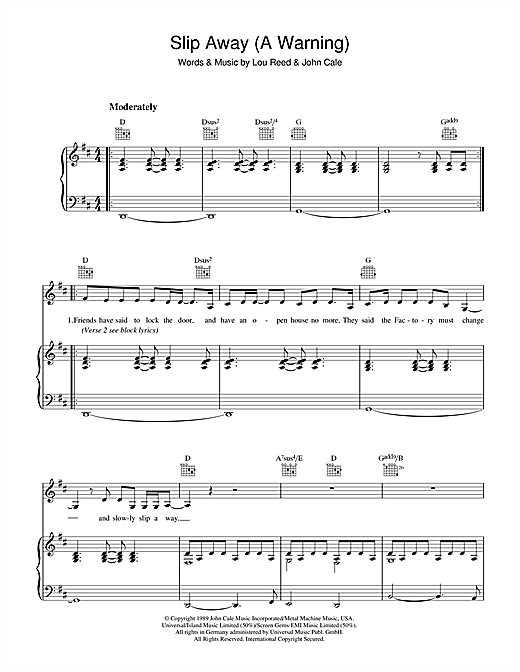 Slip Away (A Warning) Sheet Music