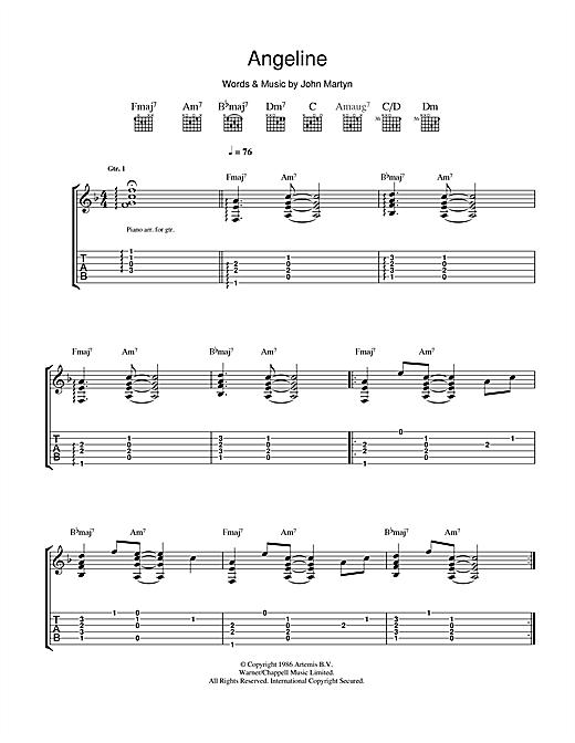 Tablature guitare Angeline de John Martyn - Tablature Guitare
