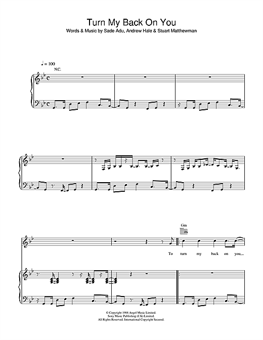 Turn My Back On You Sheet Music