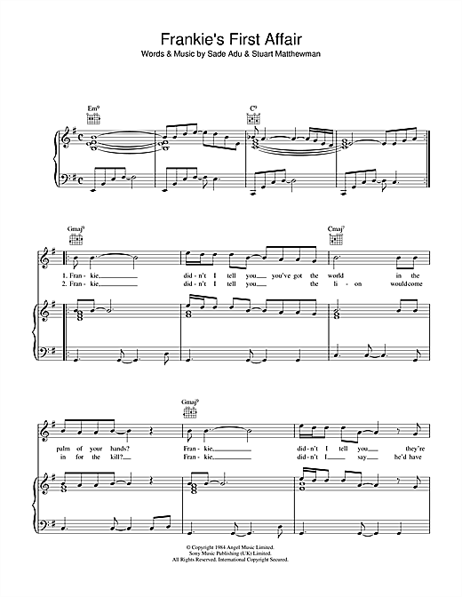 Frankie's First Affair Sheet Music