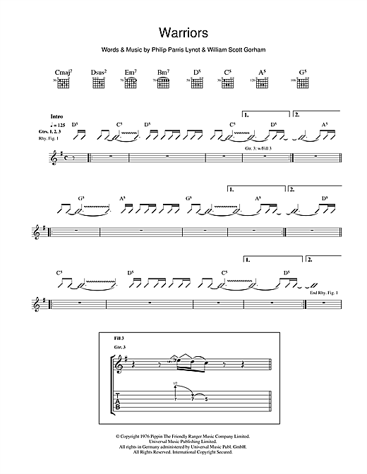 Warriors Sheet Music