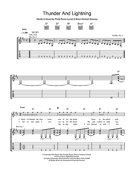 Thunder And Lightning Sheet Music