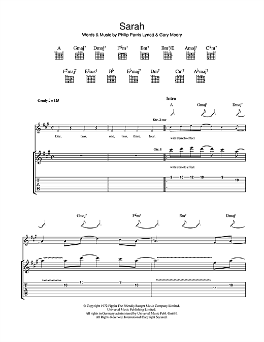 Tablature guitare Sarah de Thin Lizzy - Tablature Guitare