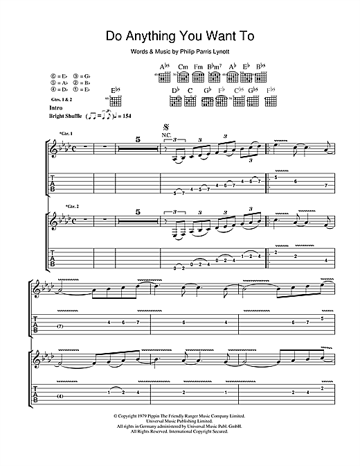 Do Anything You Want To (Guitar Tab)