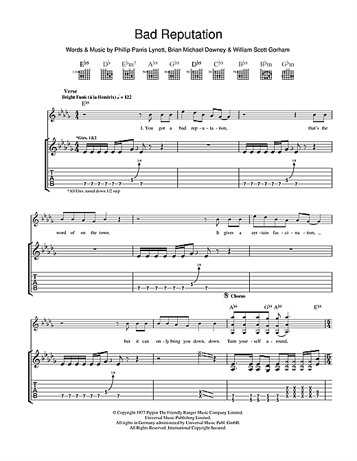 Bad Reputation (Guitar Tab)