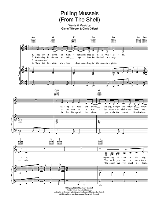 Partition piano Pulling Mussels de Squeeze - Piano Voix Guitare