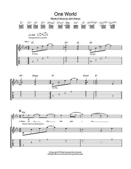 One World Sheet Music