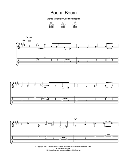 Tablature guitare Boom Boom de John Lee Hooker - Tablature Guitare