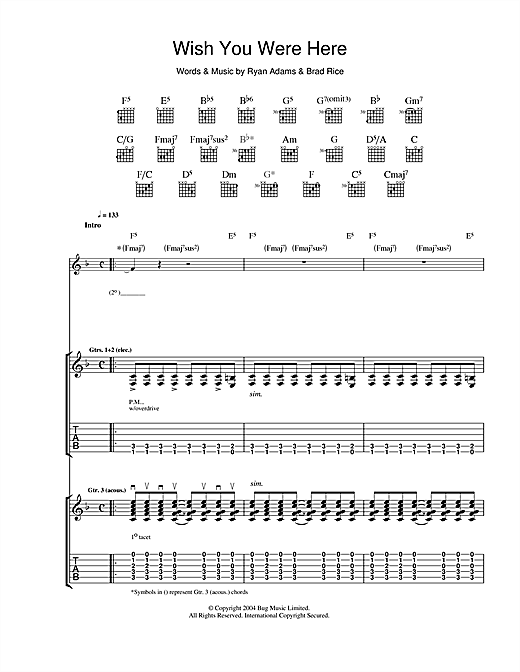 Guitar guitar tabs wish you were here : Wish You Were Here Guitar Tab by Ryan Adams (Guitar Tab – 38595)