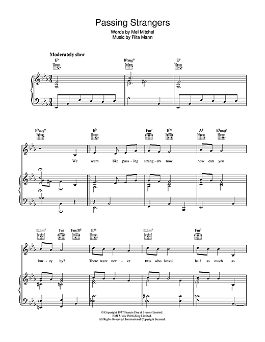Passing Strangers Sheet Music