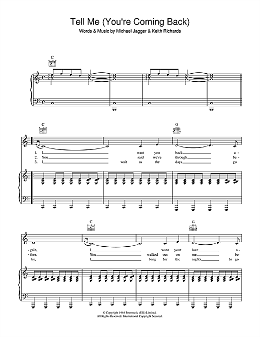 Tell Me (You're Coming Back) Sheet Music