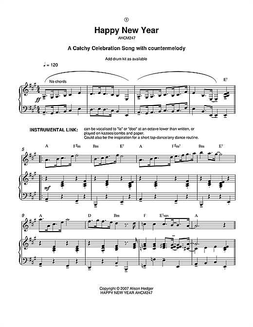 Happy New Year Sheet Music