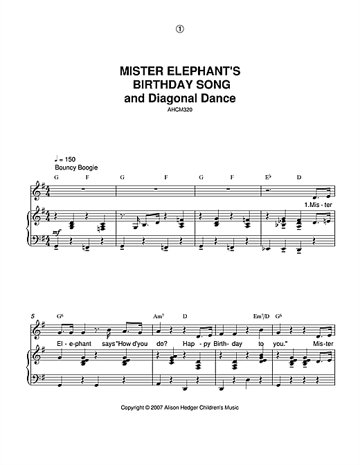 Mister Elephant's Birthday Song And Diagonal Dance Sheet Music