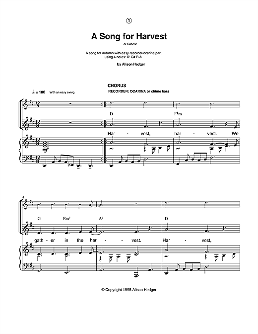 A Song For Harvest Sheet Music