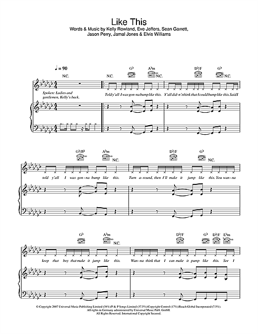 Partition piano Like This de Kelly Rowland - Piano Voix Guitare