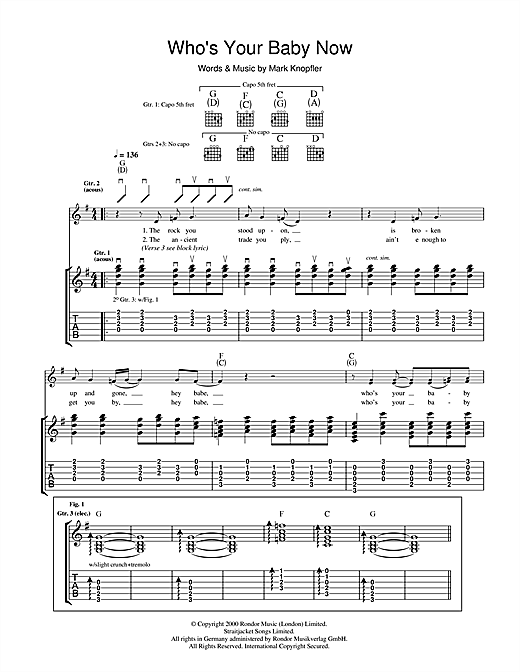 Tablature guitare Who's Your Baby Now de Mark Knopfler - Tablature Guitare