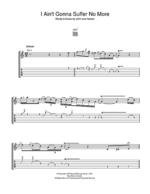 I Ain't Gonna Suffer No More (Guitar Tab)