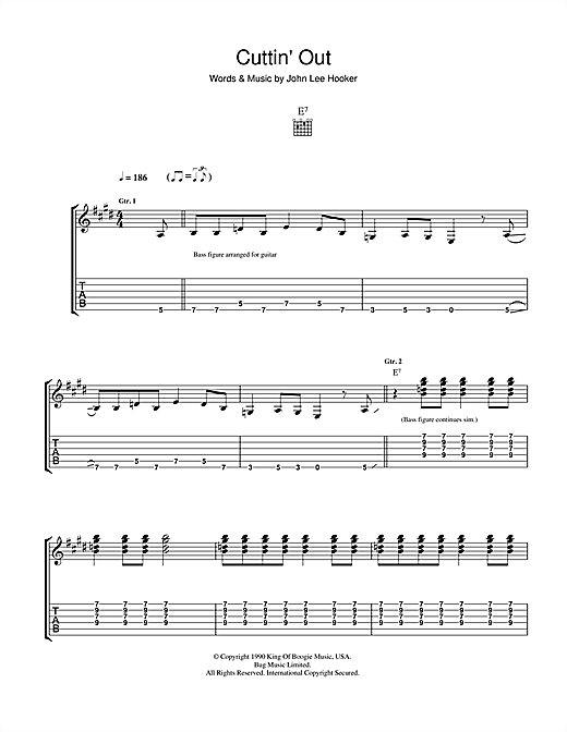 Tablature guitare Cuttin' Out de John Lee Hooker - Tablature Guitare