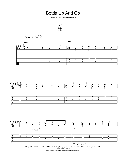 Tablature guitare Bottle Up And Go de John Lee Hooker - Tablature Guitare