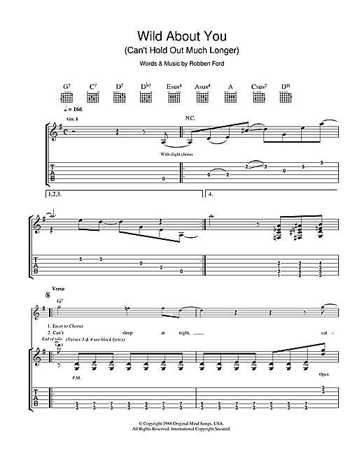 Tablature guitare Wild About You (Can't Hold Out Much Longer) de Robben Ford - Tablature Guitare