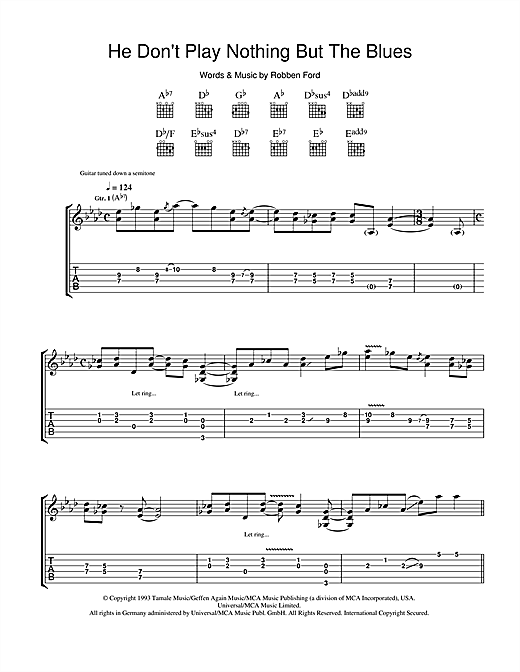 Tablature guitare He Don't Play Nothing But The Blues de Robben Ford - Tablature Guitare